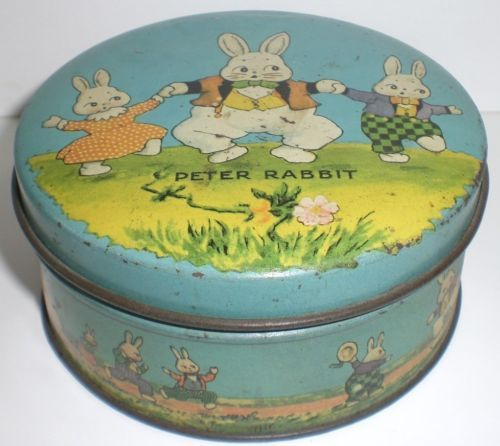 VINTAGE HARRSION CADY PETER RABBIT SMALL ROUND TINDECO CANDY TIN EASTER TREATS