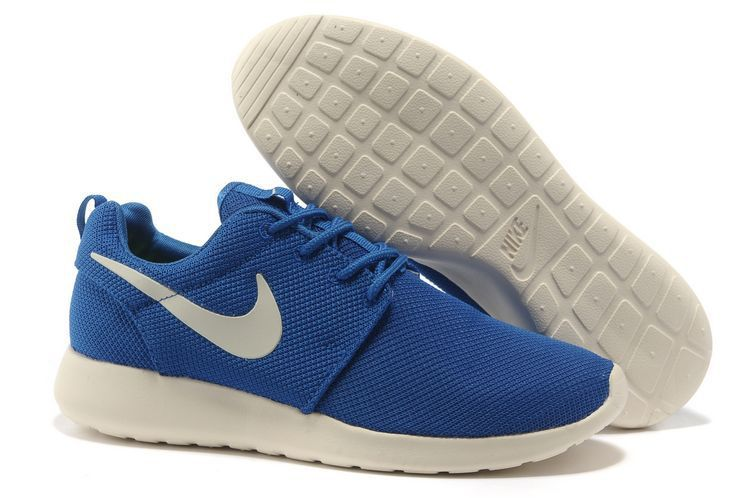 check out a6adb 83397 Nike Roshe Run Homme Bleu Blanc Mesh Chaussures