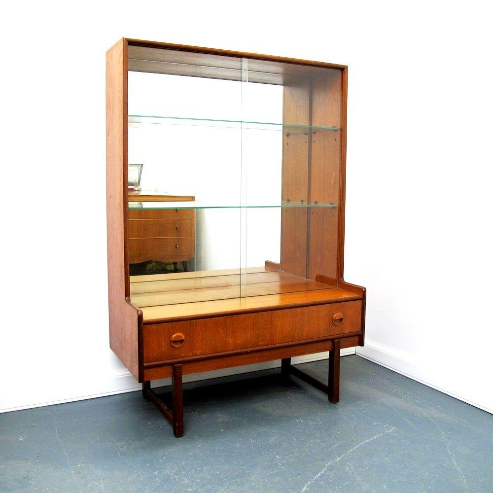 danish mid century teak display cabinet with mirrored back