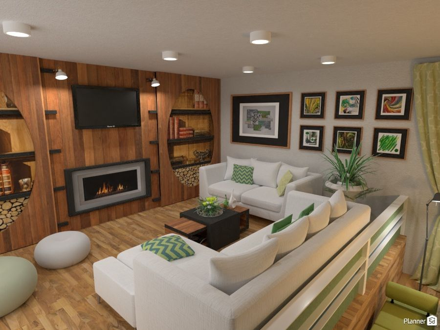 Merveilleux Living Room Interior, Wood Wall And Fireplace, PLANNER 5D