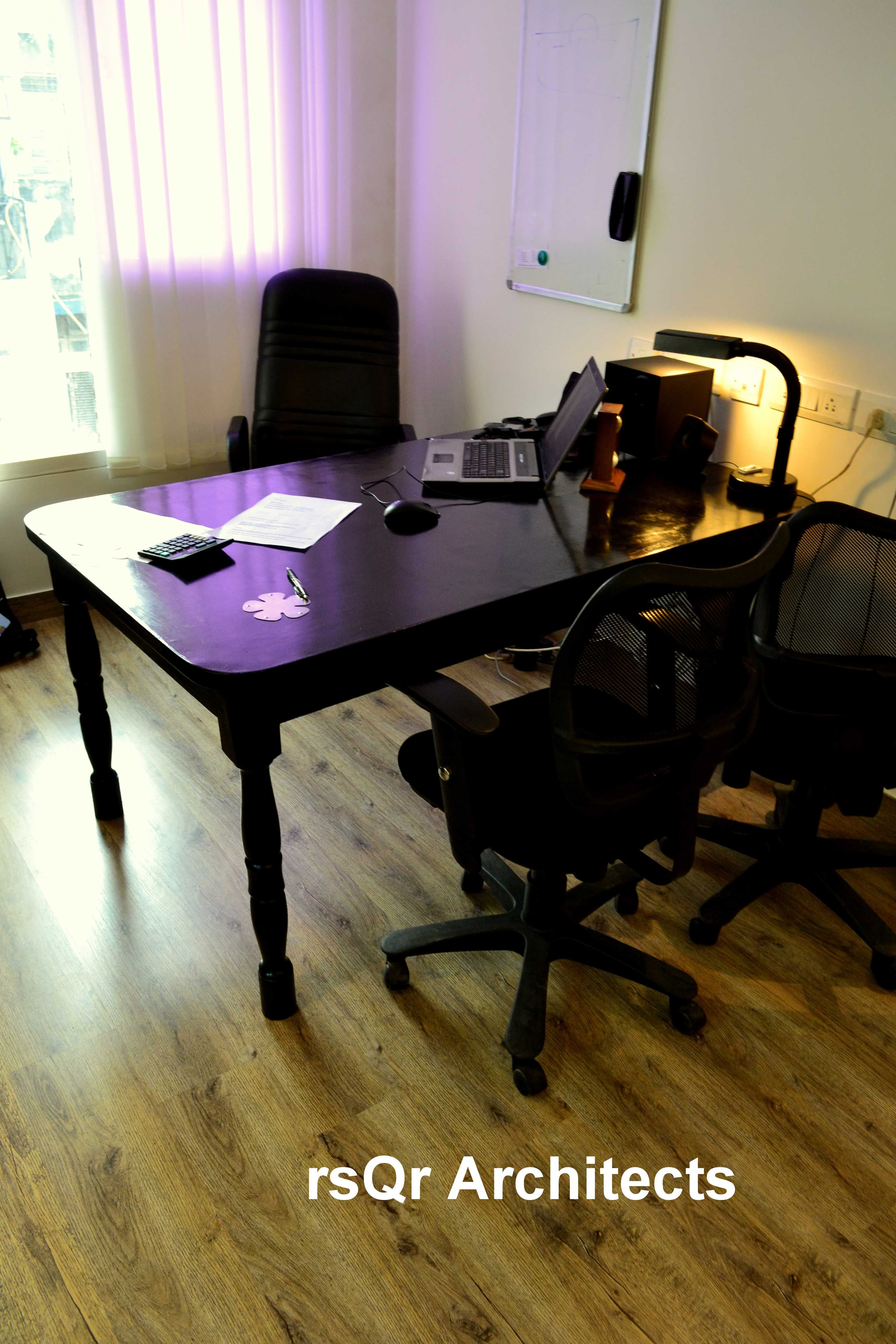 Traditional Office with Wooden Flooring, Design by