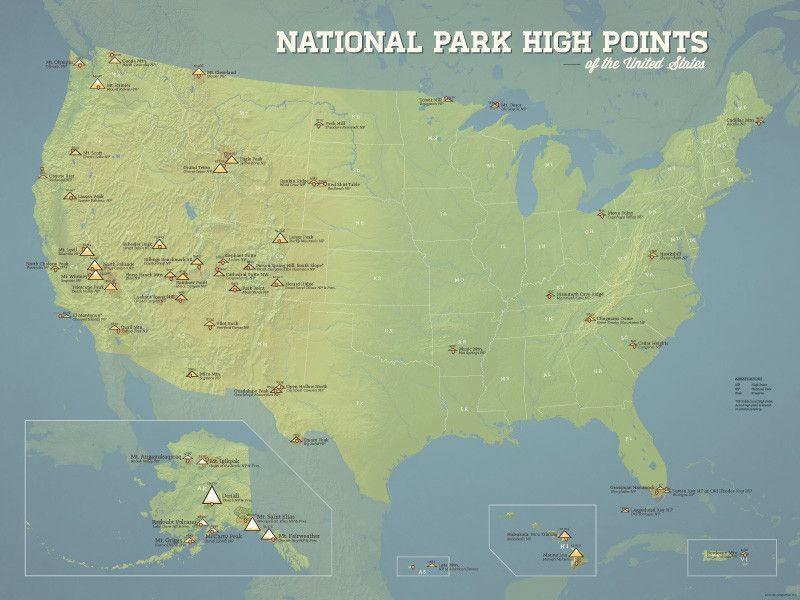US National Park High Points Map 18x24 Poster | High point and Products