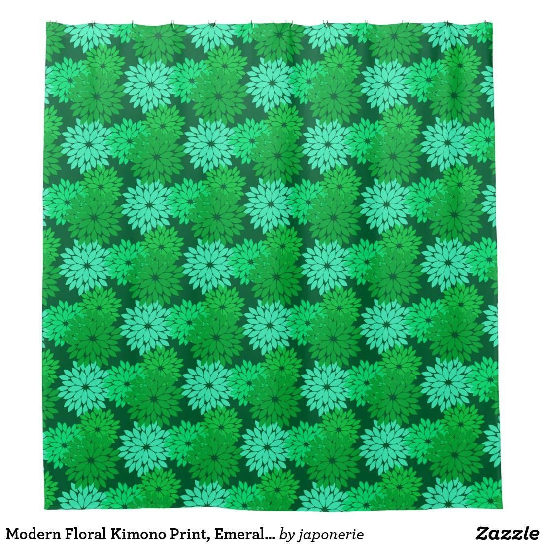 Modern Floral Kimono Print Emerald And Jade Green Shower Curtain