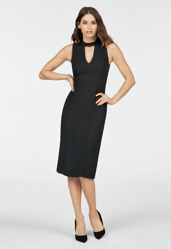 5398665965 Choker Midi Dress in Black - Get great deals at JustFab | Wardrobe ...