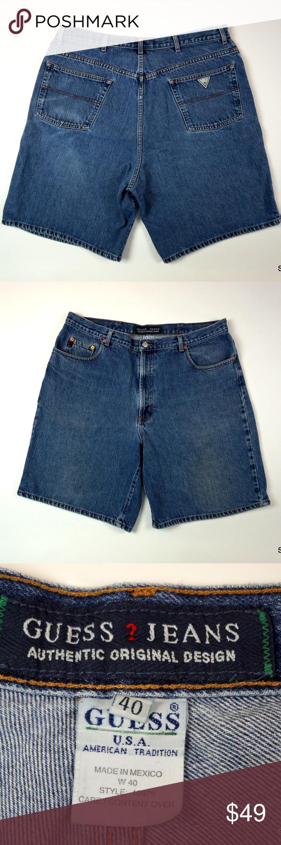07683d83998 Vintage Men's Guess Jeans Denim Jean Shorts Sz 40 Vintage 90's Men's Guess  Jeans Denim Jean