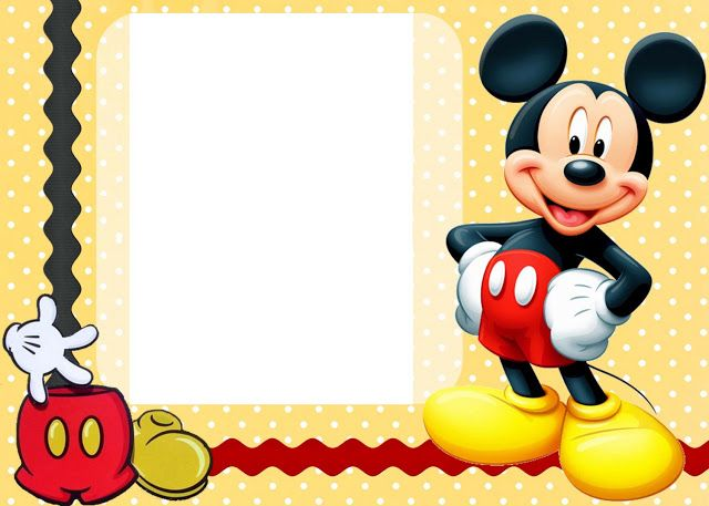 Mickey Mouse Cards Free Printable Birthday Maybe Use As A Photo Template