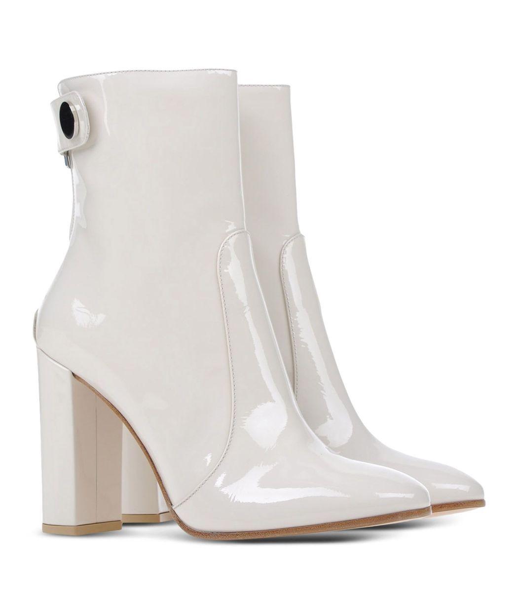 df3ec6cbc262 ShopBazaar Gianvito Rossi White Patent Leather Ankle Boot FRONT ...
