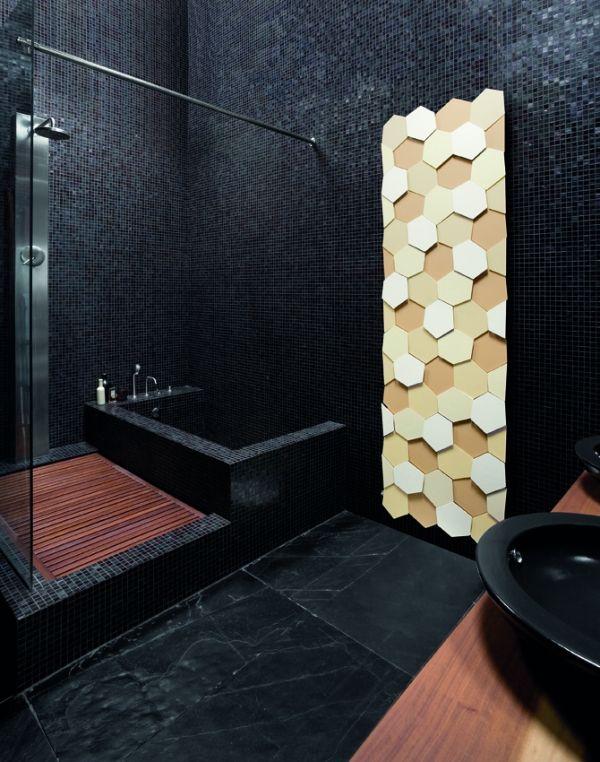 caleido Design Heizkörper modern Honigwaben Optik Led schwarze - heizk rper f r badezimmer