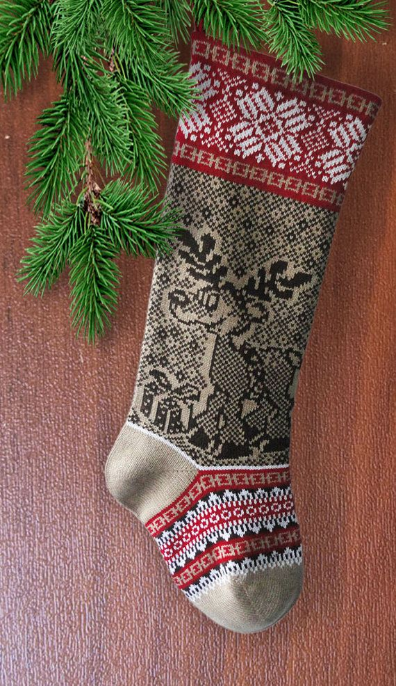 Knit Christmas Stocking Christmas Deer with Present by SELENMAR ...