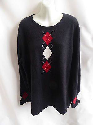 100% Cashmere Sweater Size XL Black Red Argyle Scoop Neck McDuff 46 Chest Tunic