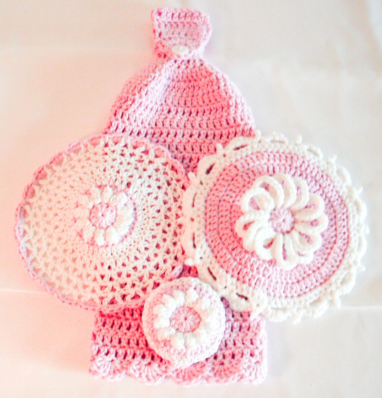 Pink crochet kitchen set hanging dish towel lace washcloth pink crochet kitchen set hanging dish towel lace washcloth daisy potholder daisy bankloansurffo Gallery