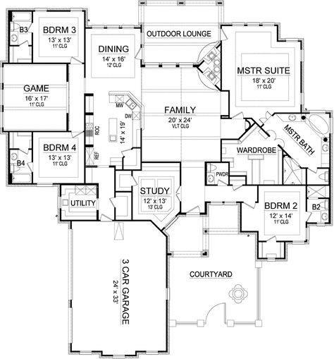 Main Floor Plan 3895 sq ft. Only change is a powder room closer to ...