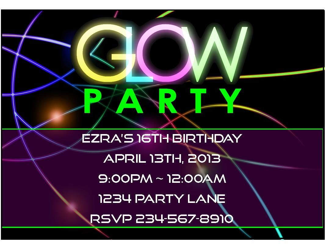 Fun Teen Girl Party Ideas | This Neon / Glow Party Invitation is ...