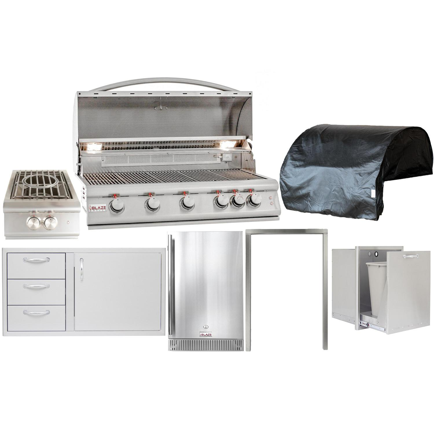 Blaze Outdoor Products Lte 7 Piece 40 Natural Gas Outdoor Kitchen Package Outdoor Kitchen Design Outdoor Refrigerator Outdoor