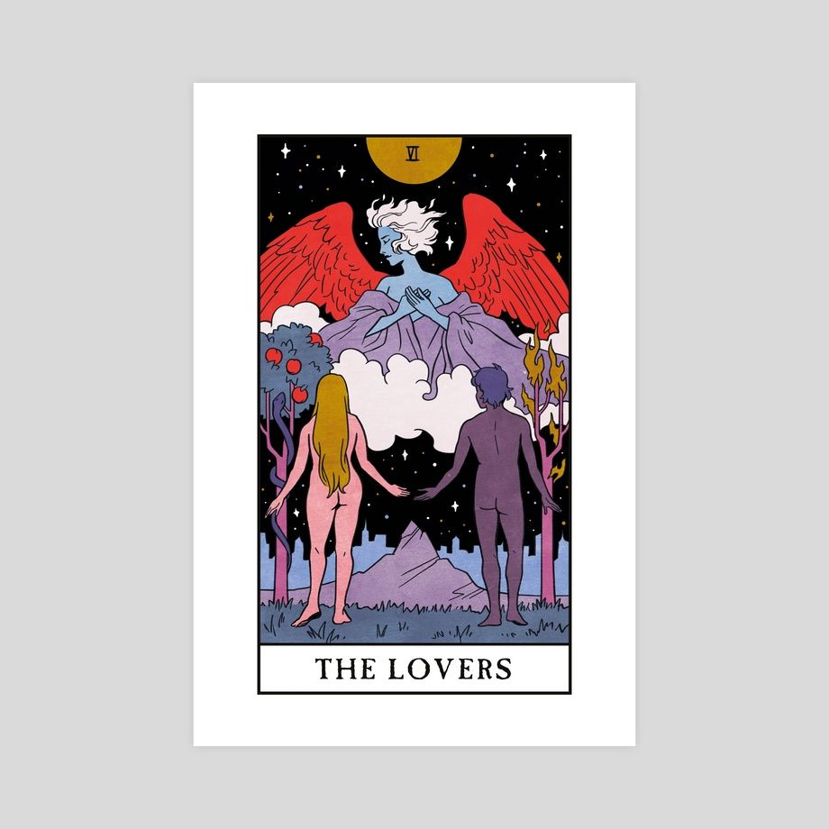The Lovers Modern Witch Tarot An Art Print By Lisa Sterle Witch Tarot Modern Witch The Lovers Tarot Card