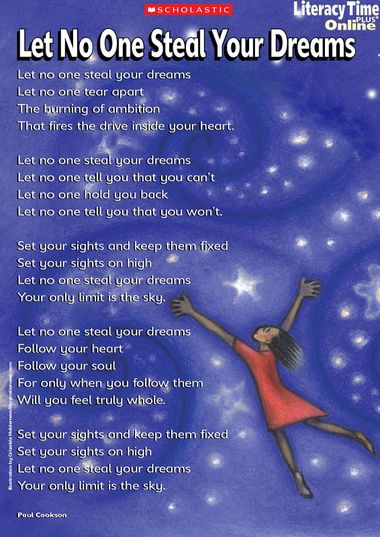 'Let no one steal your dreams' poem poster