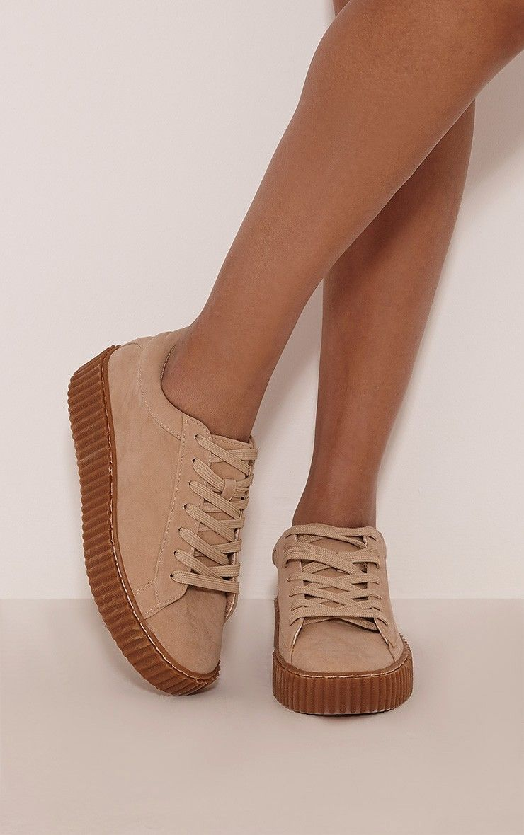 Cia Nude Faux Suede Creeper Trainers Image 1  Shoes -4087
