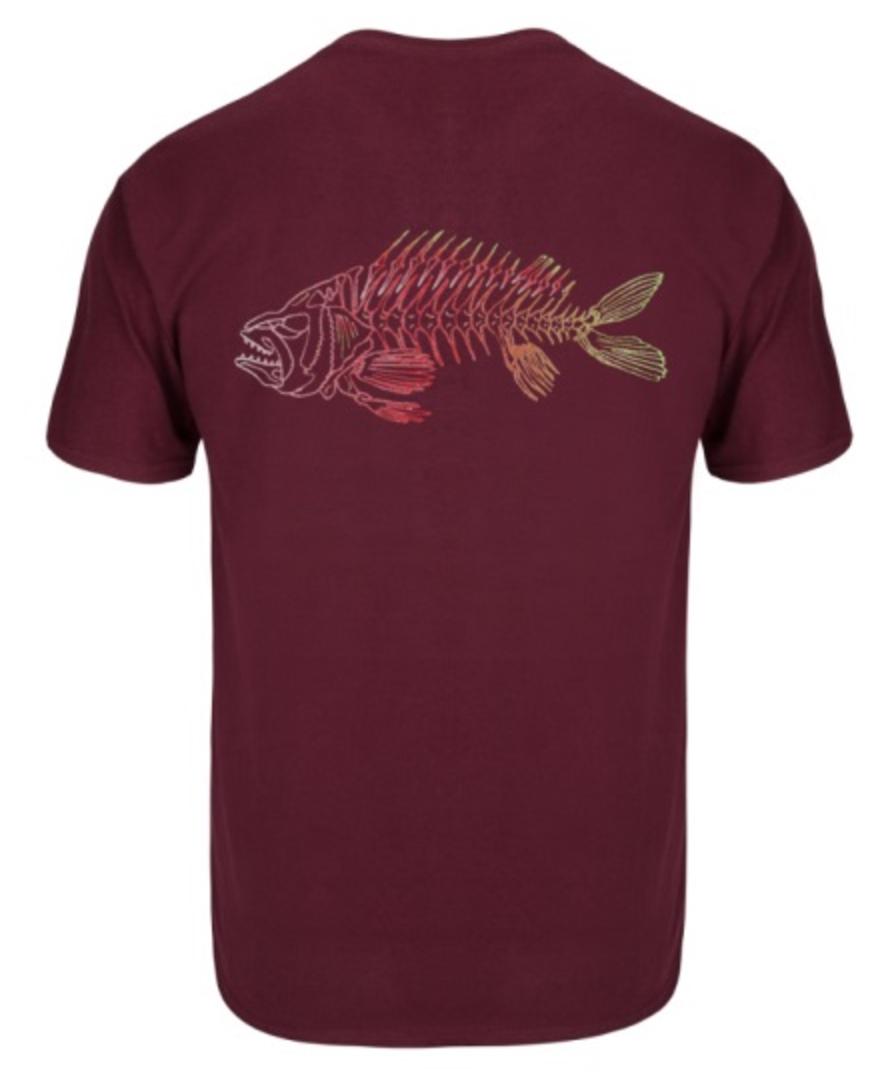 Skeleton Fish Tee-Maroon