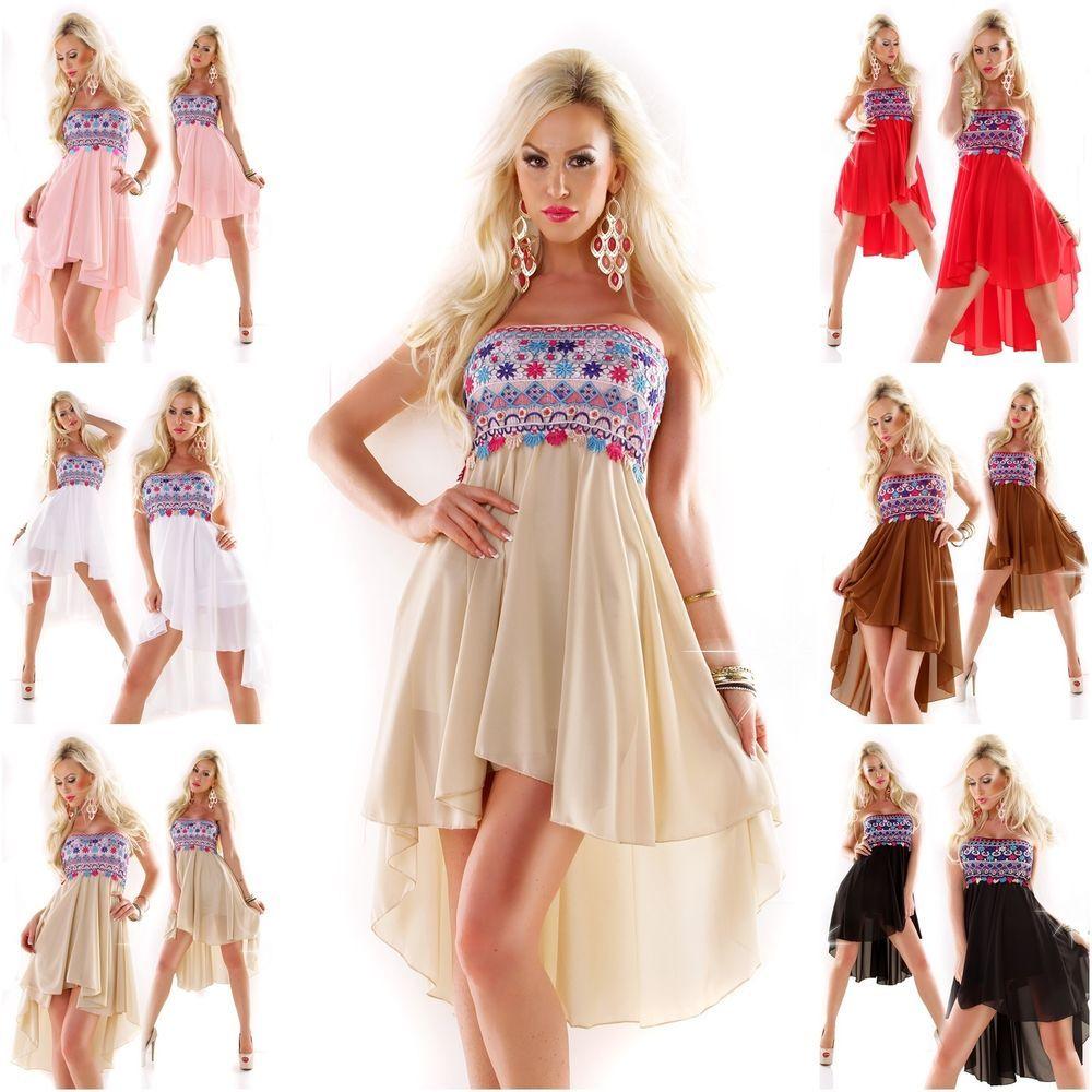 Details zu Vokuhila Kleid mit Ethno Hippie Stickerei Abendkleid ...