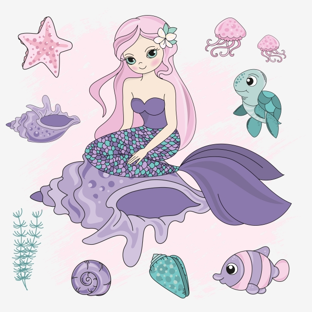 Queen Mermaid Girl Princess Cartoon Sea Ocean Underwater Travel Tropical Cruise Vacation Vector Illustration Set For Print Fabric And Decoration Under The Sea Princess Cartoon Ocean Underwater Printing On Fabric