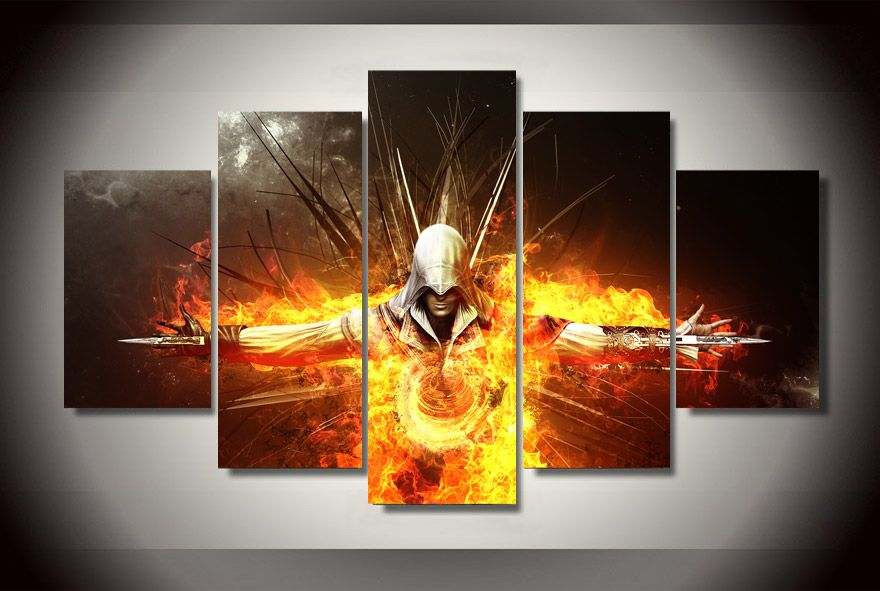 Amazing 2016 Limited Canvas Painting 5 Pcs Unframed Assassins Creed Game Painting  On Canvas Room Decoration Print