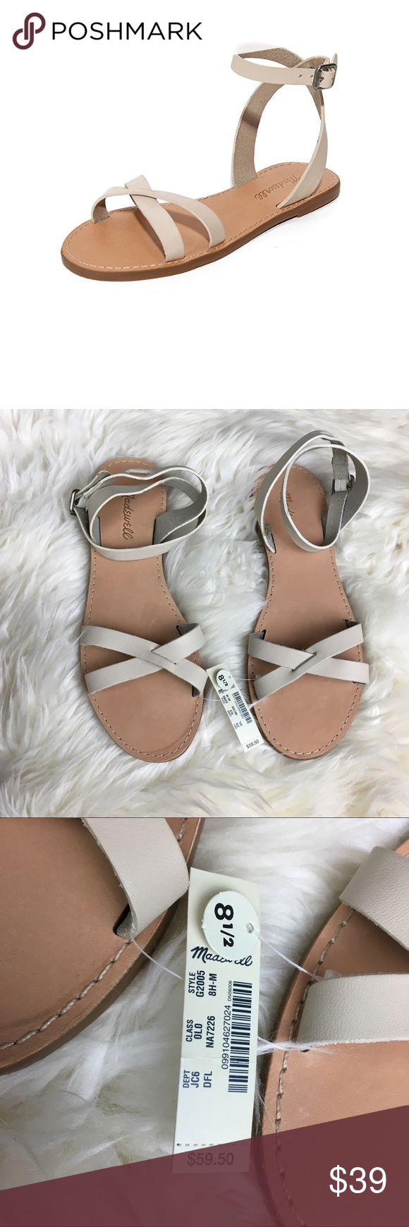 Madewell boardwalk leather dried flax sandal Madewell Size