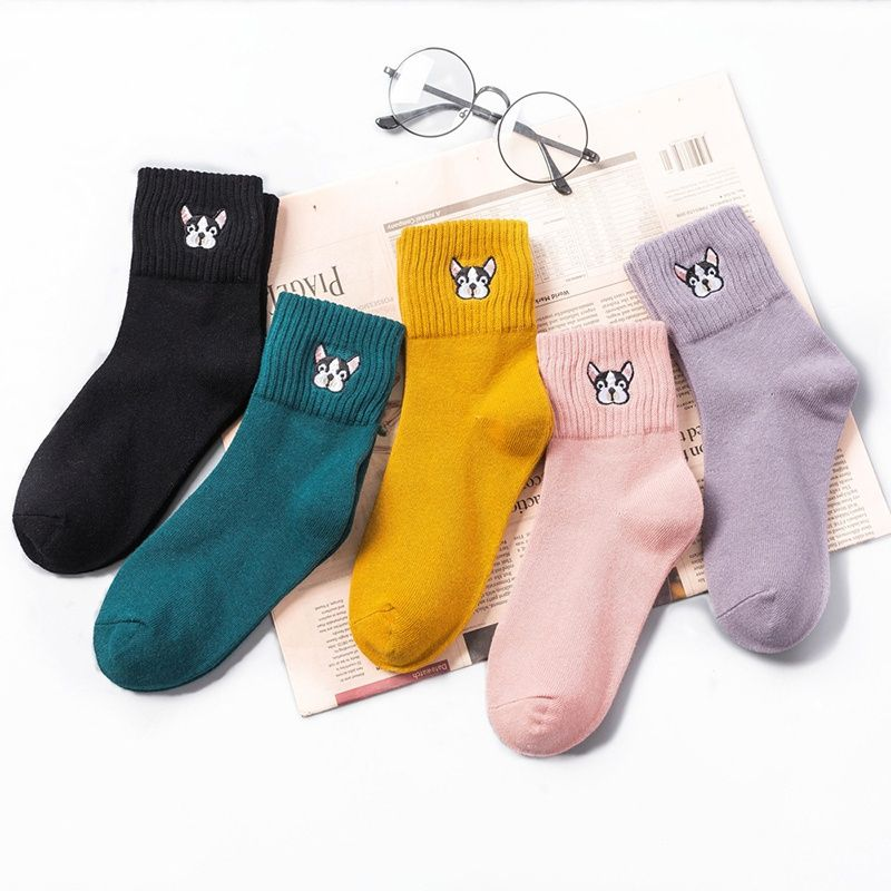 New Women Cute Kawaii Tide Cartoon Dog Short Socks Funny Casual Short Ankle Sock