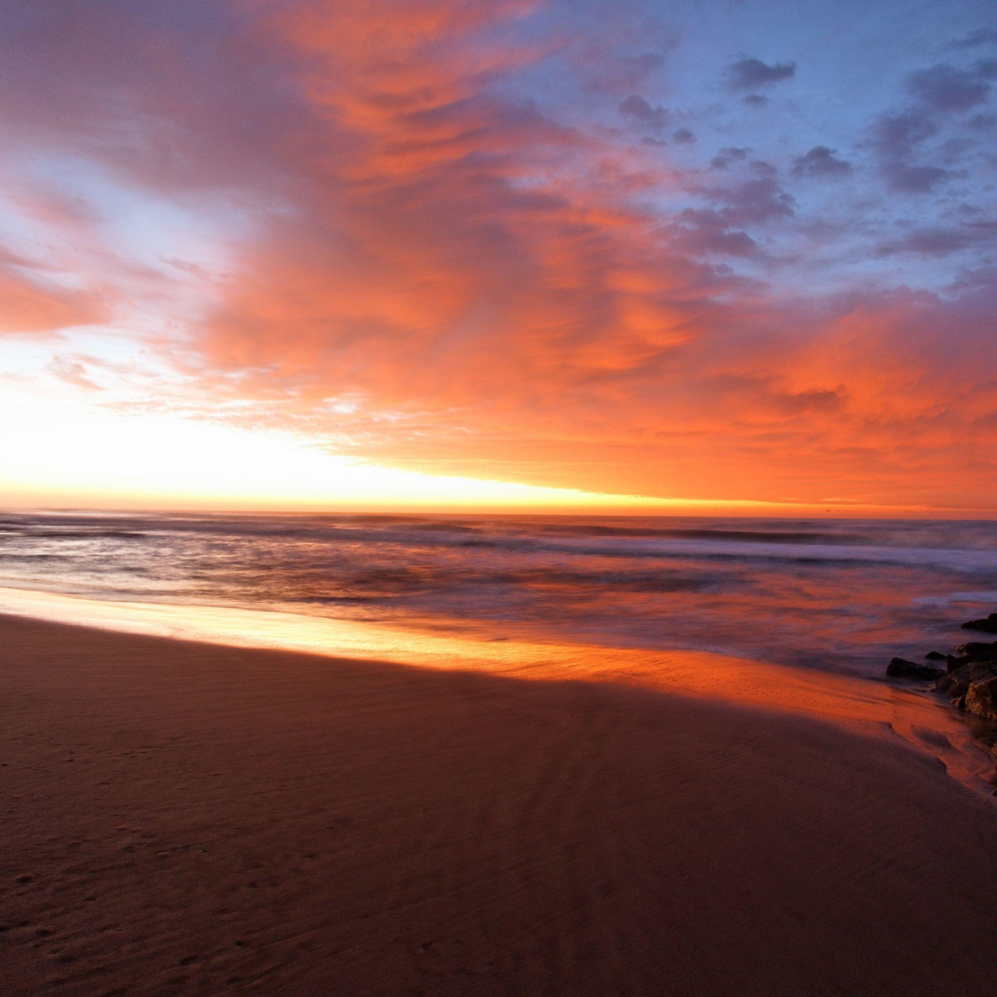 2048x2048 Wallpaper declínio, noite, praia, areia, mar, umidade, nuvens, máscaras, laranja, facilidade