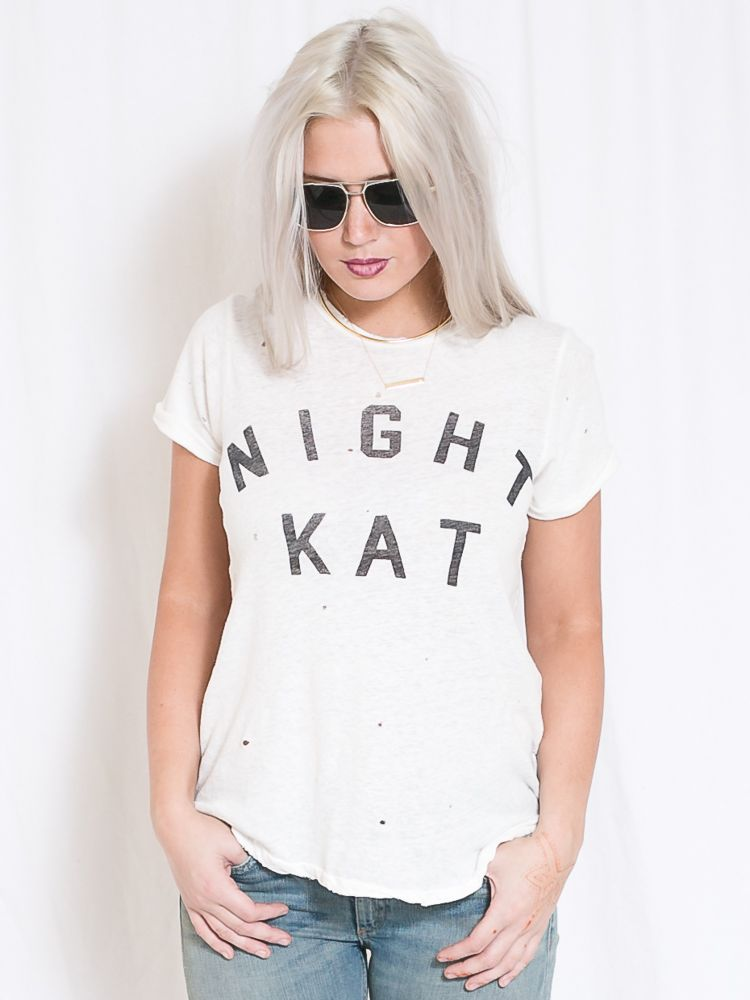 "Rolled Sleeve Crew ""Night Kat"" - Current/Elliott - shoplola.com"