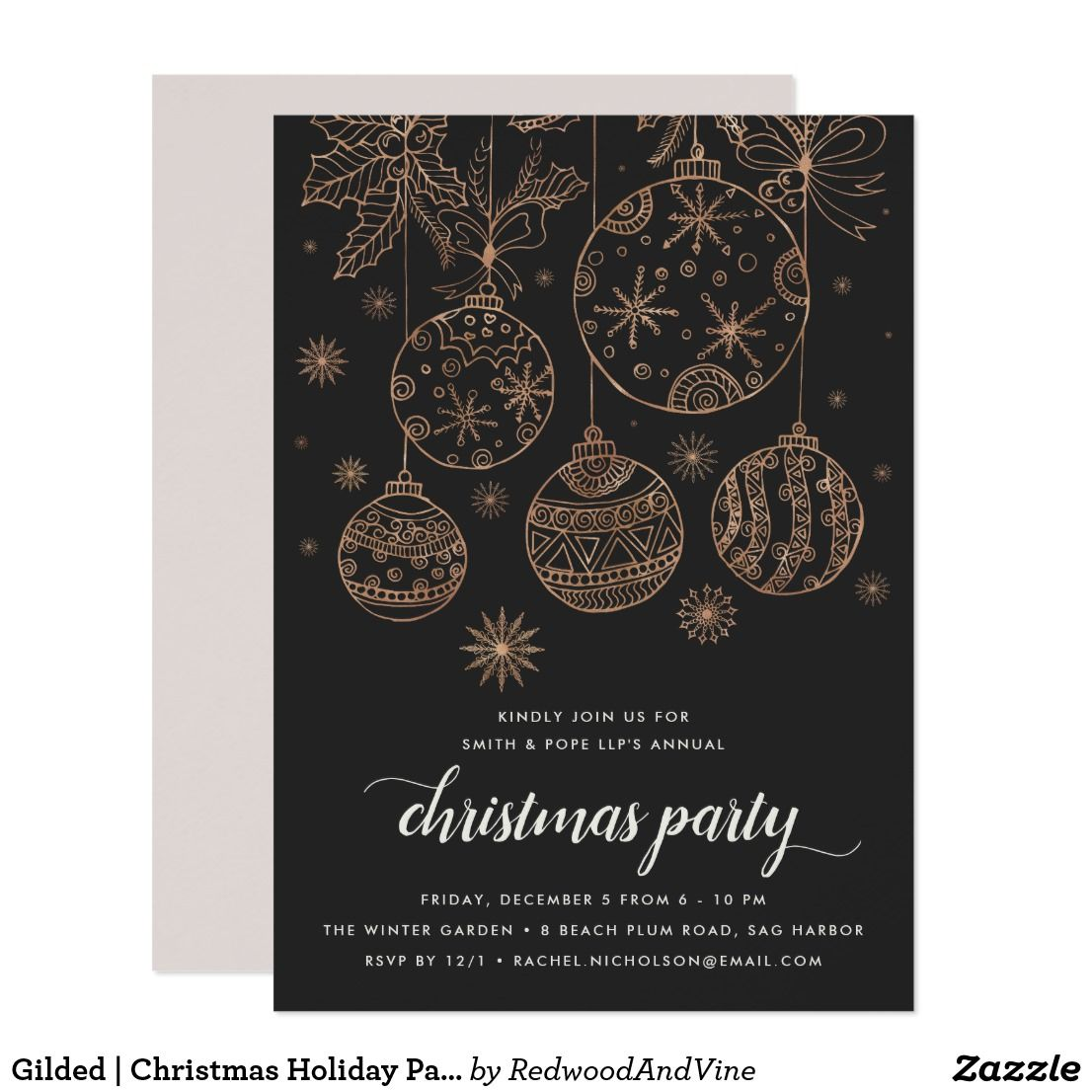 Gilded   Christmas Holiday Party Invitation in 2018   Festive ...