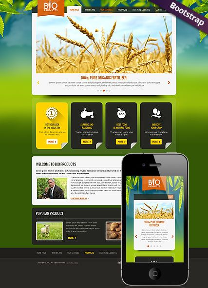 Eco Agriculture website template, bootstrap | Website Templates ...