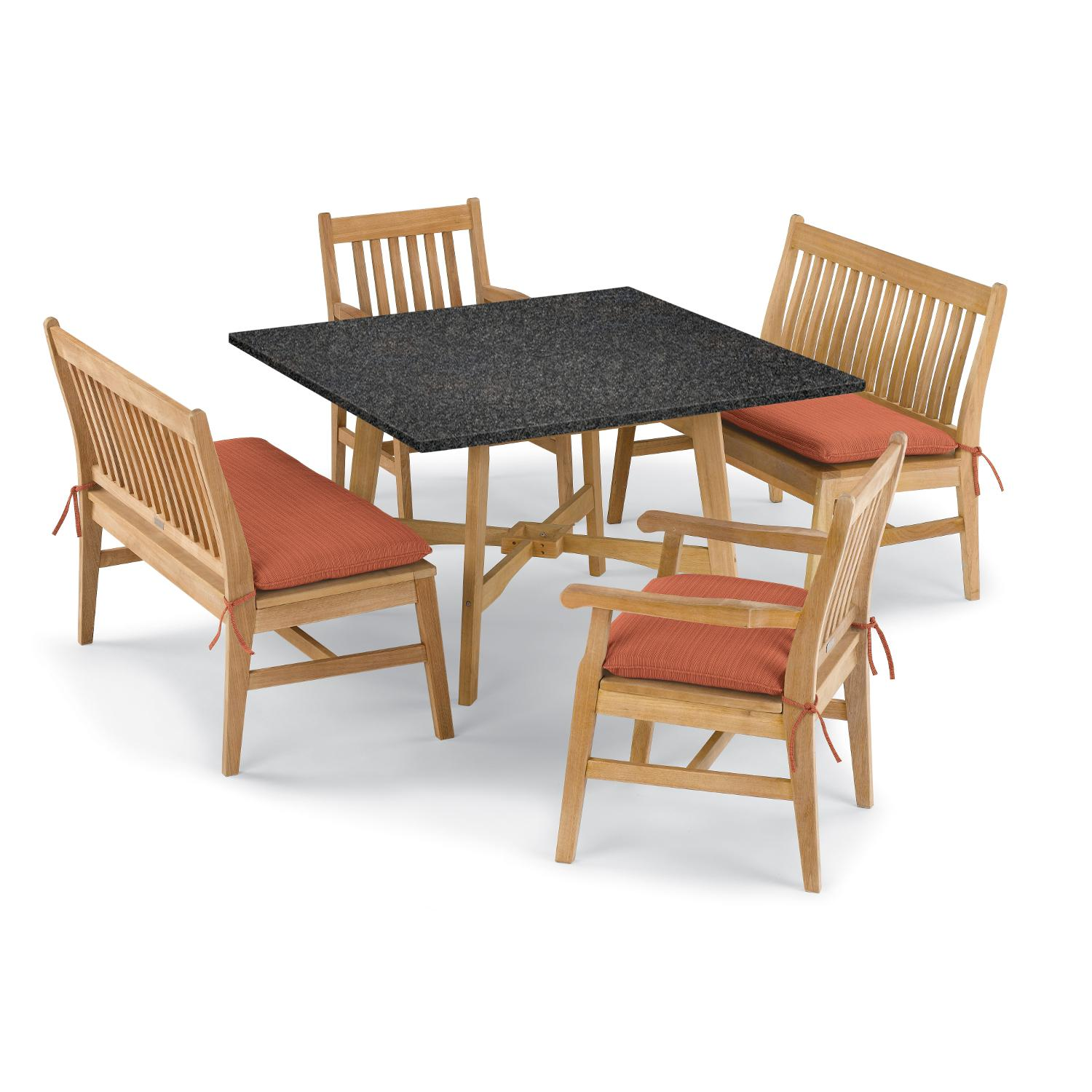 Wexford 5 Piece Natural Shorea Patio Dining Set W/ 48 Inch ...