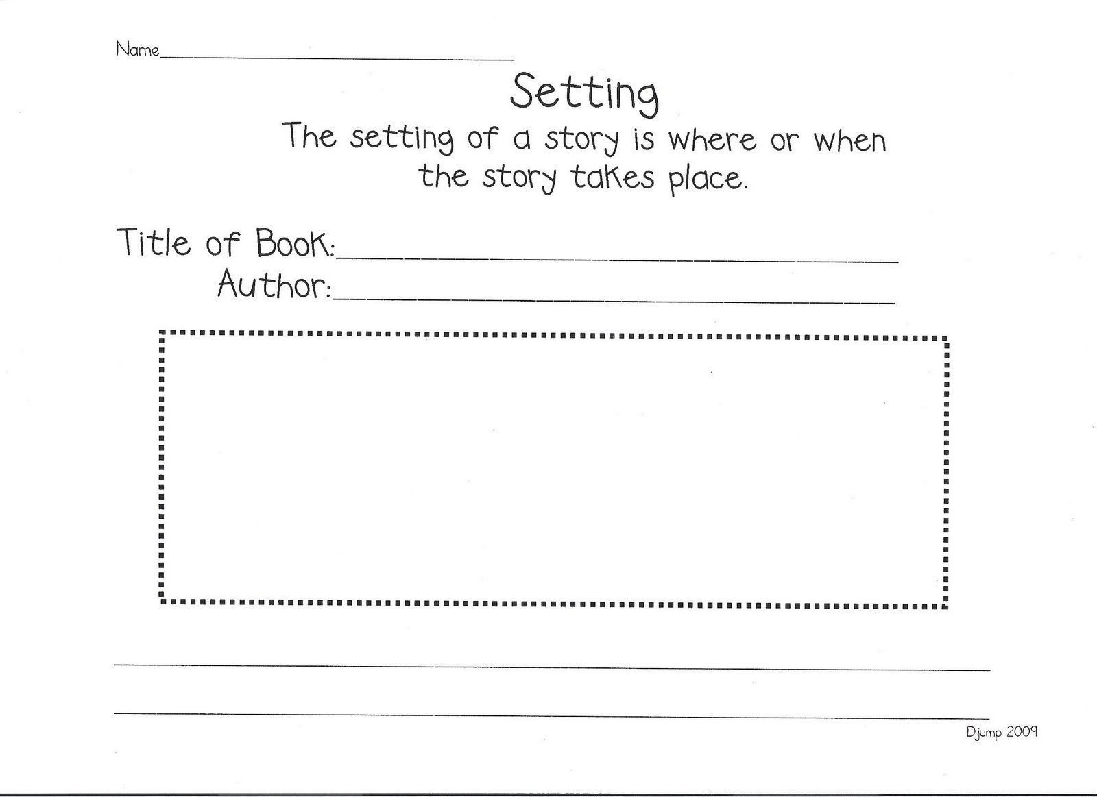 Reading Response Worksheet Focus On Setting