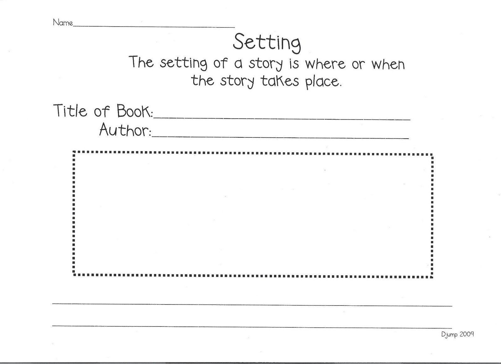 Reading Response Worksheet Focus On Setting