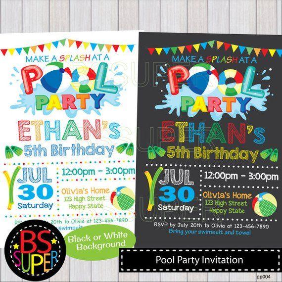 POOL PARTY Invitation Chalkboard Pool Party Birthday Invite Swim Invi