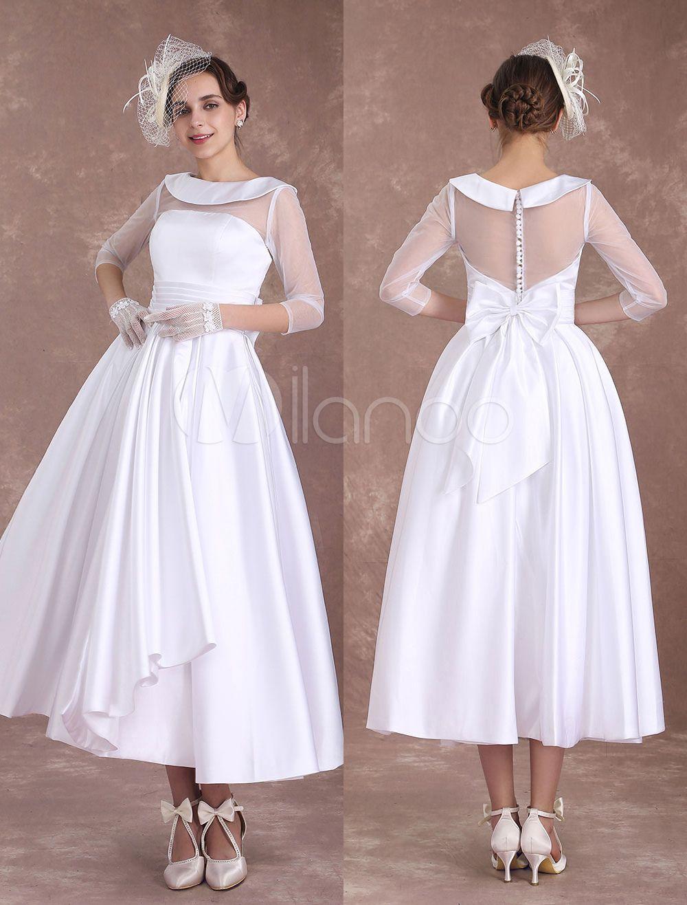 White Wedding Dresses Short 1950 S Vintage Bridal Dress Satin Long Sleeve Pleated Illusion T Short Wedding Dress Wedding Reception Dress Bridal Dresses Vintage [ 1316 x 1000 Pixel ]