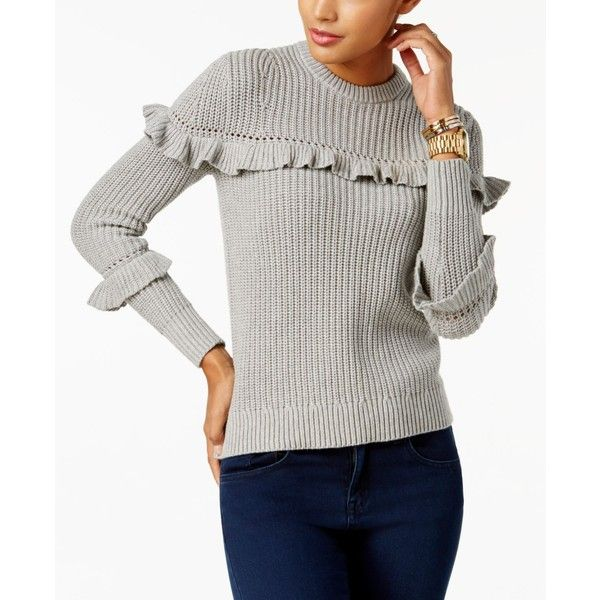 Michael Michael Kors Cotton Ruffled Sweater ( 110) ❤ liked on Polyvore  featuring tops d9b3a2a9b