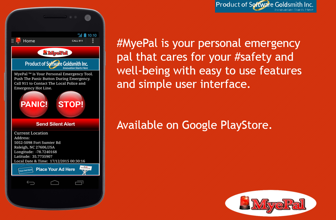 "MyePal‬ is your personal emergency pal that cares for your ‪#‎safety‬ and well-being with easy to use features and simple user interface. Download the app today and stay protected! Hurry because ""caution is the parent of safety"". ‪#‎Pro‬ https://goo.gl/Nq2c2y ‪#‎trial‬ https://goo.gl/D8Ft58"