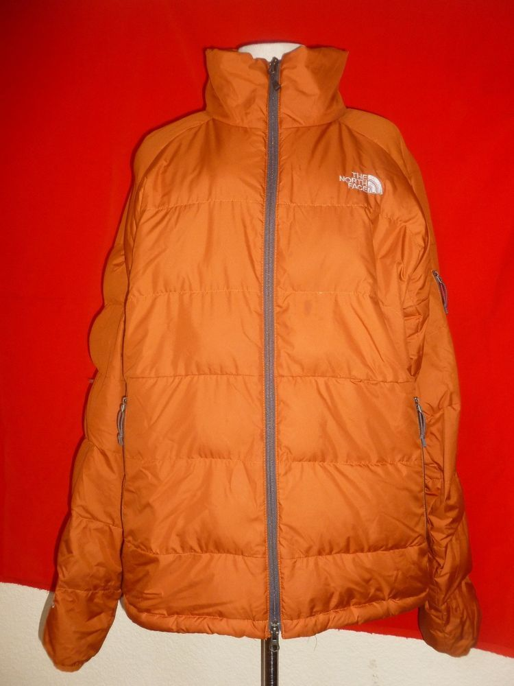 022027339 The North Face 550 Goose Down Puffer Jacket Coat Orange Mens sz L ...