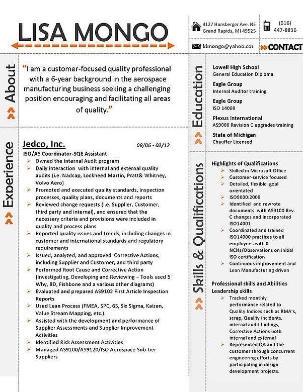 Orange Accent Resume Resume Pinterest - resume with accent
