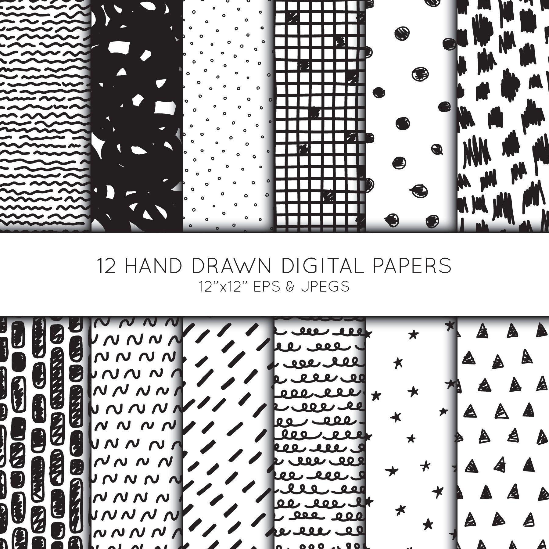 Hand drawn Scrapbook paper, Doodle digital paper,