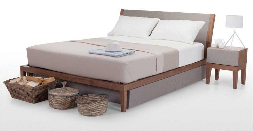 Lansdowne Kingsize Bed 160cm X 200cm Walnoot En Huismusgrijs Made Com Bedden Opslag Kingsize Bedden Bed