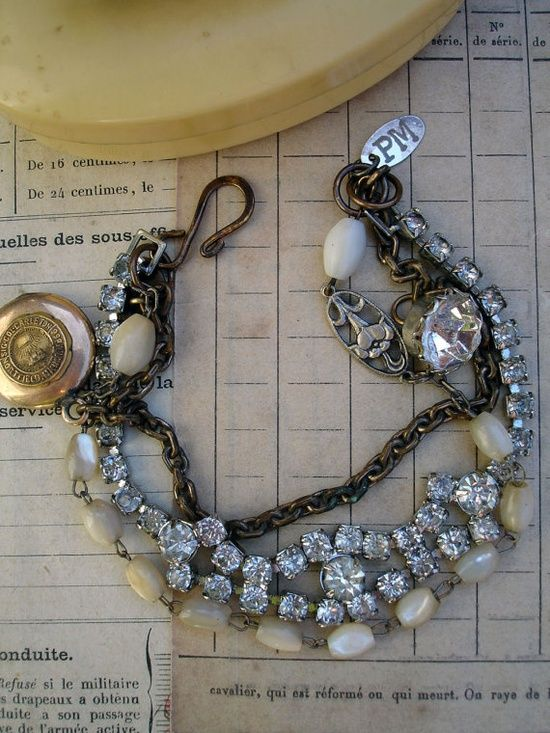 3 Strand Repurposed Bracelet with Locket by PaulaMontgomery,