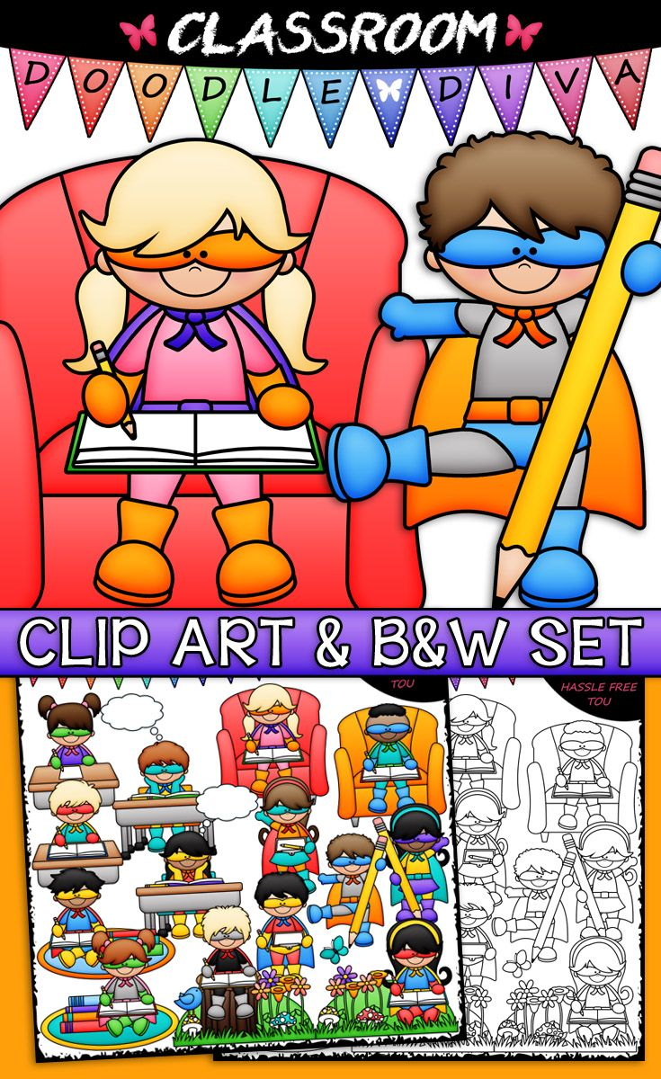 small resolution of writing superheroes clip art b w set including 1 superhero girl writing at a