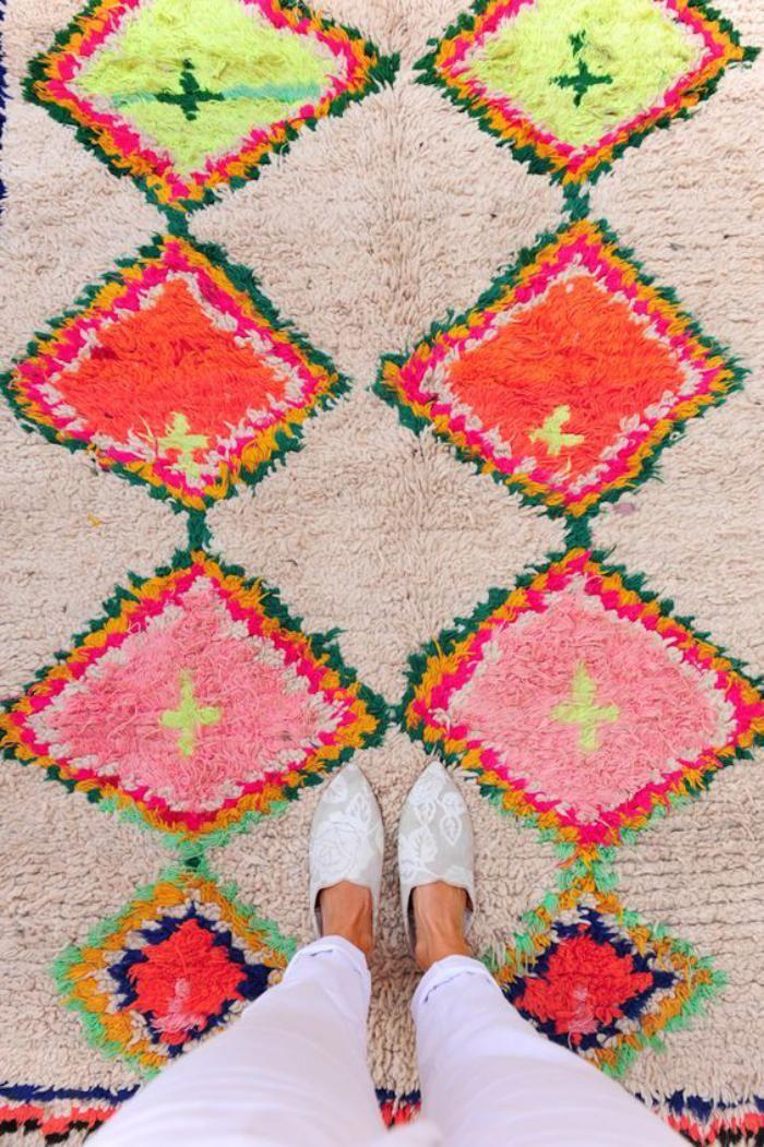 tapis marocain motifs geometriques en couleurs
