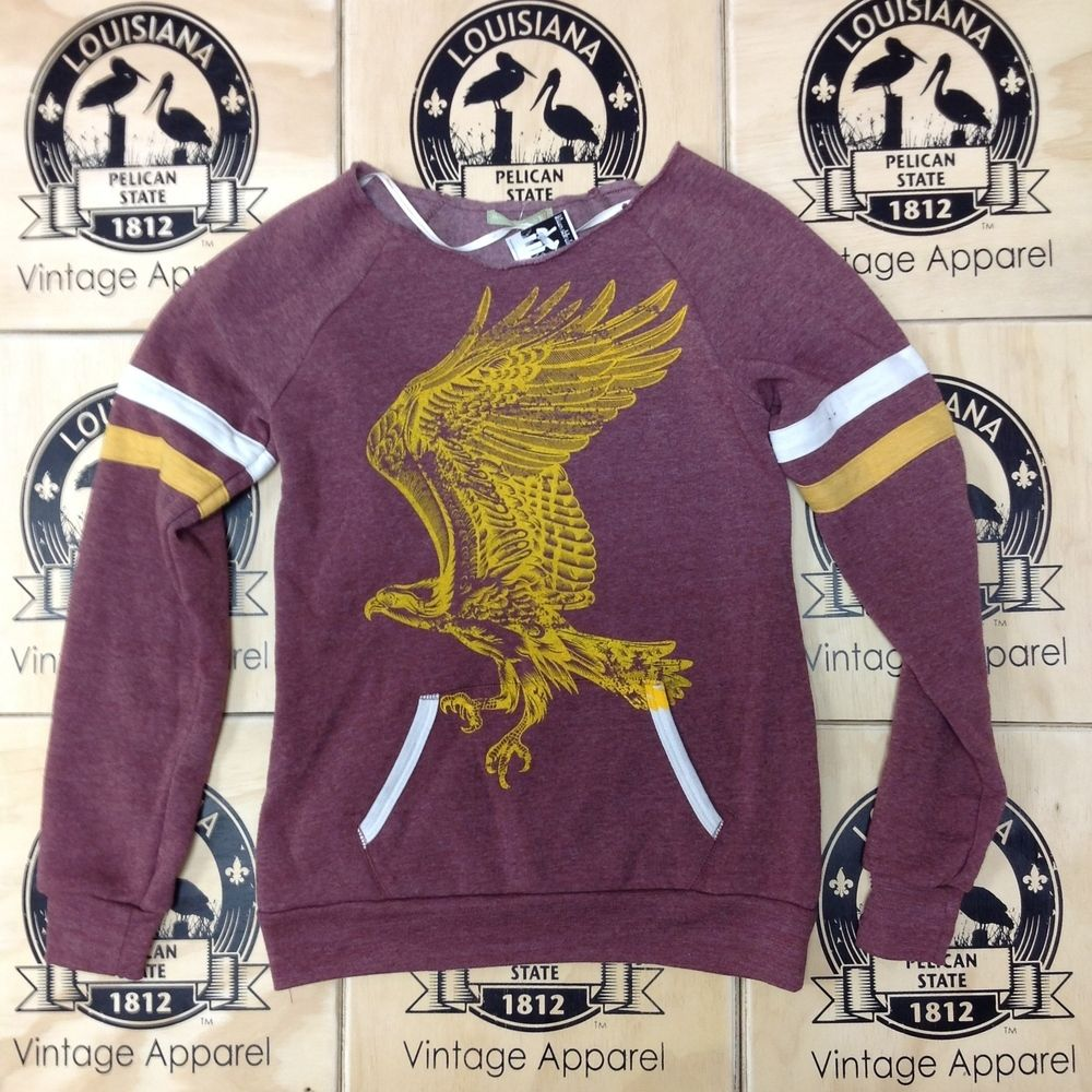 Hawk Ladies Maniac Sweat Shirt Maroon Yellow Gold From Pelican State Clothing Ulm Warhawk