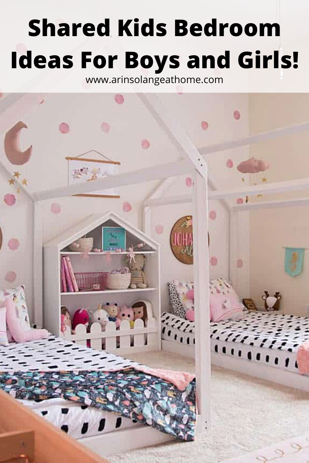 Here are several bedroom ideas for shared kids rooms - great for both boys and girls! Plus tips for making a shared sibling room work for the kids and family. Decor and tips for sisters and brothers.