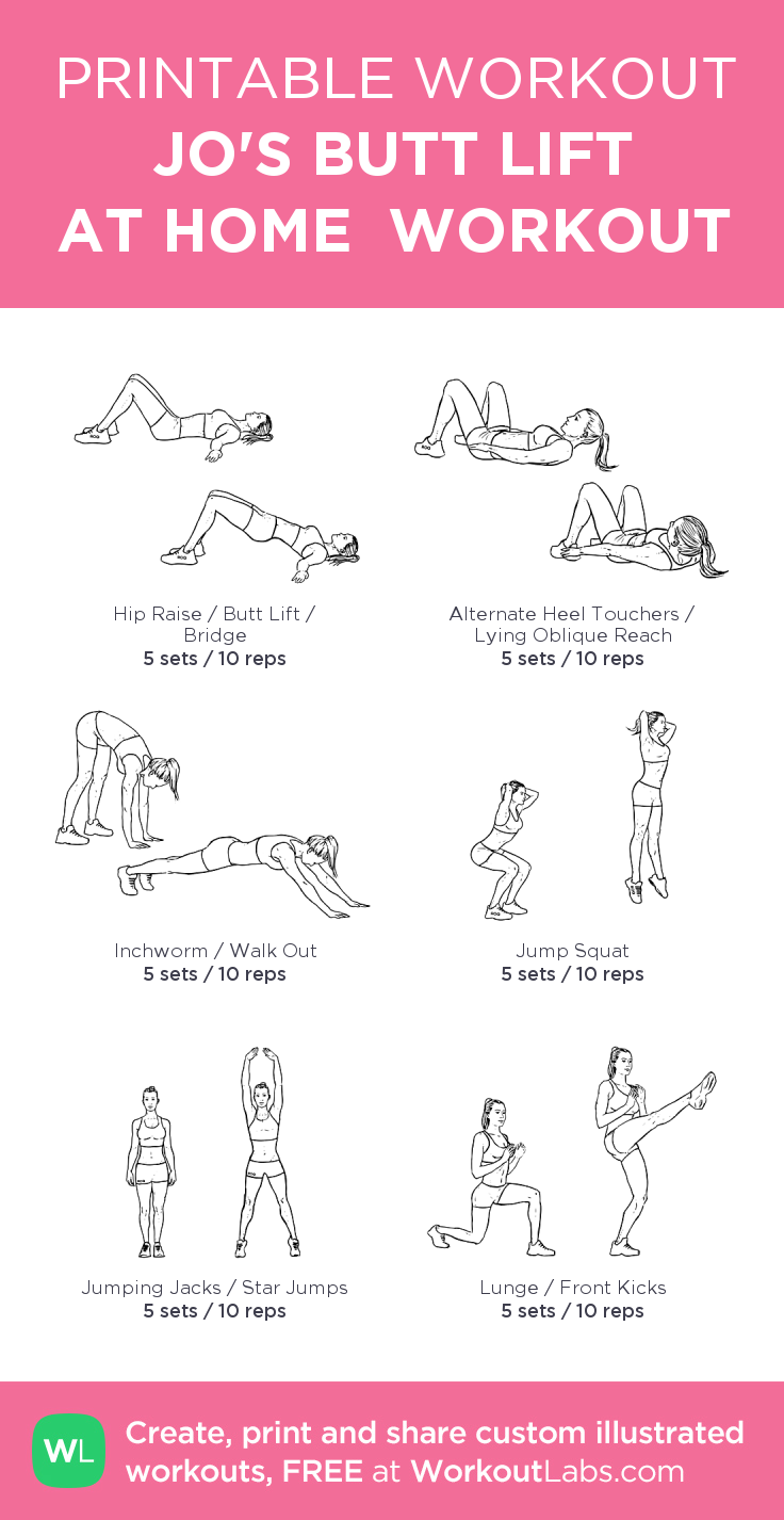 graphic regarding Printable Workouts at Home referred to as JOS BUTT Elevate AT Household Exercise routine #customworkout Excerise