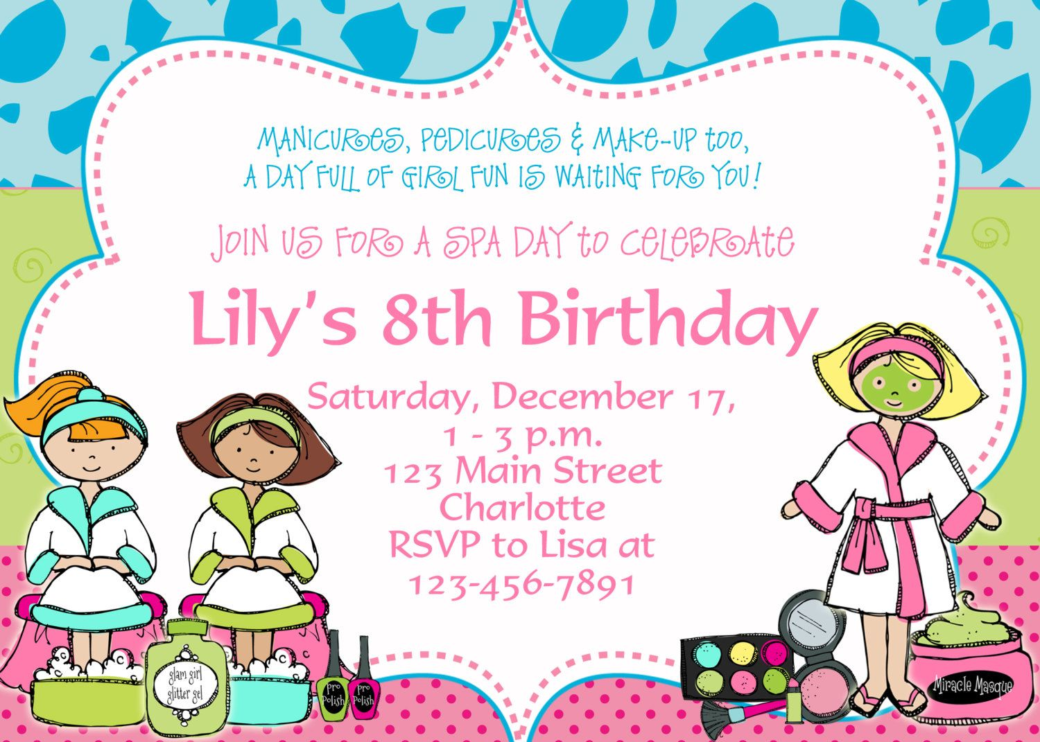 Printable Spa Birthday Party Invitations Spa at Home – Free Kids Birthday Invites