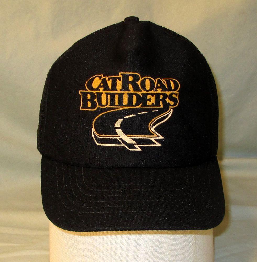 Cat Caterpillar Snapback Hat CatRoad Builders Mesh Trucker Cap Black Made  in USA 6a149882ec9